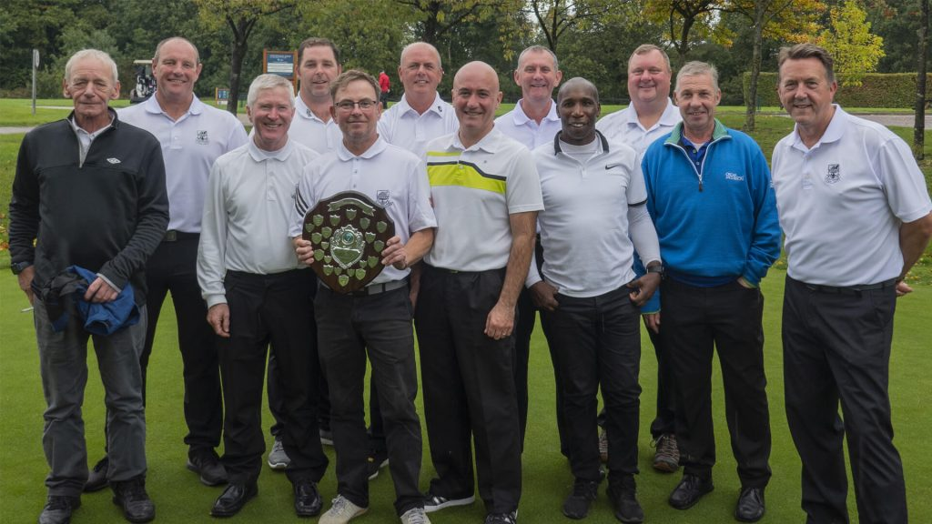 Victorious Stevenage Golf Club players with the Needle Shield